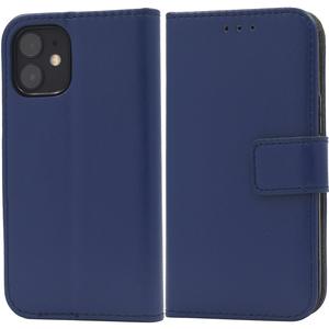 紺■ iPhone12mini (5.4inch)専用 手帳型 ケース■スマホ 保護 カバー 無地 シンプル スタンド カードポケット 収納 アイフォン12ミニ