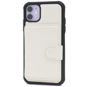白■ iPhone 11 (6.1inch)用 背面のみ手帳型ケース■背面保護 バック カバー カード 切符 メモ 収納 マグネット レザー アイフォンイレブン