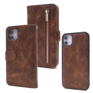 ブラウン■iPhone 11 (6.1inch) 用 ファスナー ポケット付き 手帳型ケース■内ケース取り外し可能 レザー スマホ保護 アイフォンイレブン
