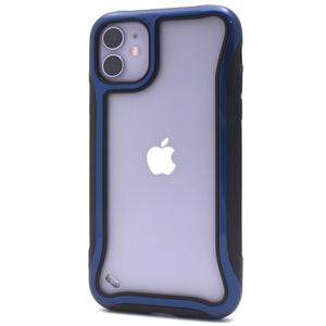 ブルー■ iPhone 11 (6.1inch) 用 ソフトバンパーケース■滑り止め付 マット仕様 セミクリア 保護 背面PCケース アイフォンイレブン