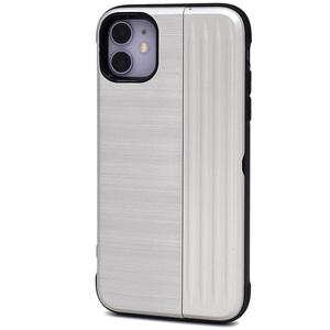 シルバー■ iPhone 11 (6.1inch)用 背面カードホルダー付 ケース■保護 バック カバー マット メタリック 収納 便利 アイフォンイレブン