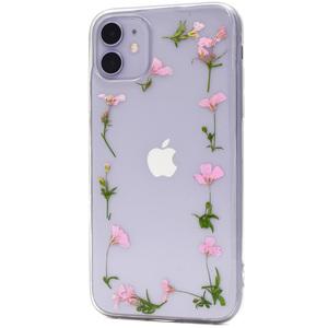 ピンク 押し花フレーム■iPhone 11 (6.1inch)用ソフトケース■スマホ 保護 クリア 本物のお花 かわいい コネクタカバー アイフォンイレブン