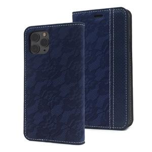 ブルー■ iPhone 11 Pro (5.8inch)用 レースデザイン 手帳型ケース■レザー 保護カバー 内側ソフトケース おしゃれ アイフォン11プロ