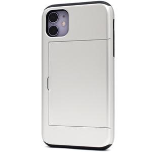 シルバー 2枚収納■iPhone 11 (6.1inch)用 背面スライド式カードホルダー付 ケース■保護 バック カバー 定期券 免許証 アイフォンイレブン