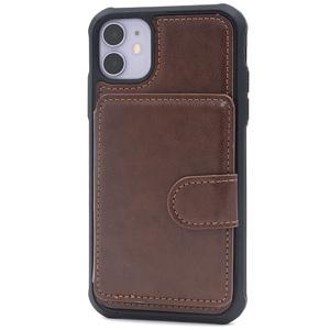 茶■ iPhone 11 (6.1inch)用 背面のみ手帳型ケース■背面保護 バック カバー カード 切符 メモ 収納 マグネット レザー アイフォンイレブン