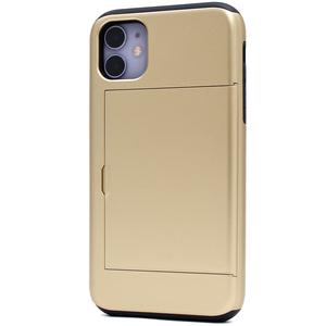 ゴールド 2枚収納■iPhone 11 (6.1inch)用 背面スライド式カードホルダー付 ケース■保護 バック カバー 定期券 免許証 アイフォンイレブン
