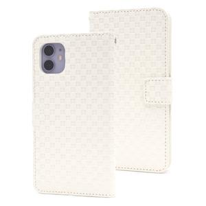 ホワイト■ iPhone 11 (6.1inch)用 市松模様 手帳型ケース■ストラップ付 保護 スタンド カード収納 内側ハードケース アイフォンイレブン