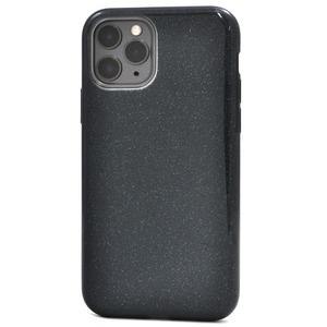 ブラック 黒 グリッター■iPhone 11 Pro(5.8inch)用 ソフト ケース■スマホ 背面保護 バック カバー かわいい ラメ アイフォンイレブンプロ