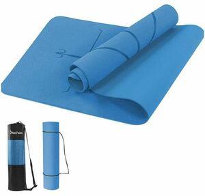 ヨガマット yogamat 6m 両面滑り止め TPE 収納ケース付き ブルー