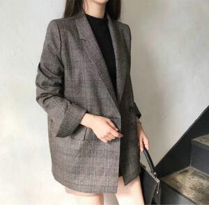 ☆韓国☆グレンチェック オーバーサイズ ダブル テーラード ジャケット