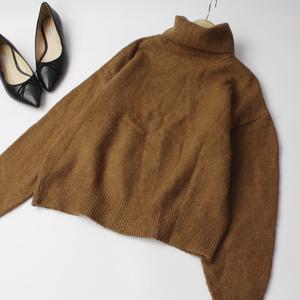 H&M エイチ&エム アクリルニット タートルニット セーター ウールブレンド XSサイズ ブラウン 211004nd【4点同梱で送料無料】