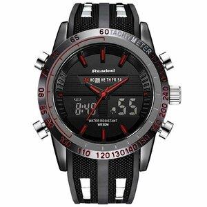 メンズスポーツ腕時計 防水 LED デジタル クォーツ メンズ ミリタリー腕時計 デジアナ時計 [HY2050]