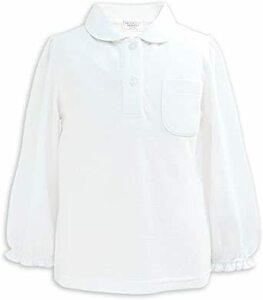 ホワイト 100 ASHBERRY (アッシュベリー) 丸えり長袖ポロシャツ/白/鹿の子/女の子/子供/スクール/キッズ/小学生