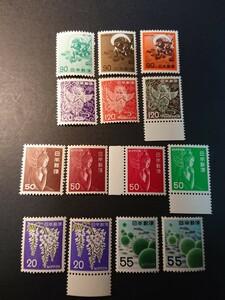 切手新旧比較 風神三種・けんま三種・中宮寺菩薩四種・ふじ二種・まりも二種