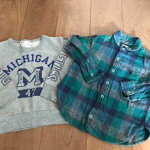 キッズトップス2点セット ネルシャツ&トレーナー 100サイズ coen MPS