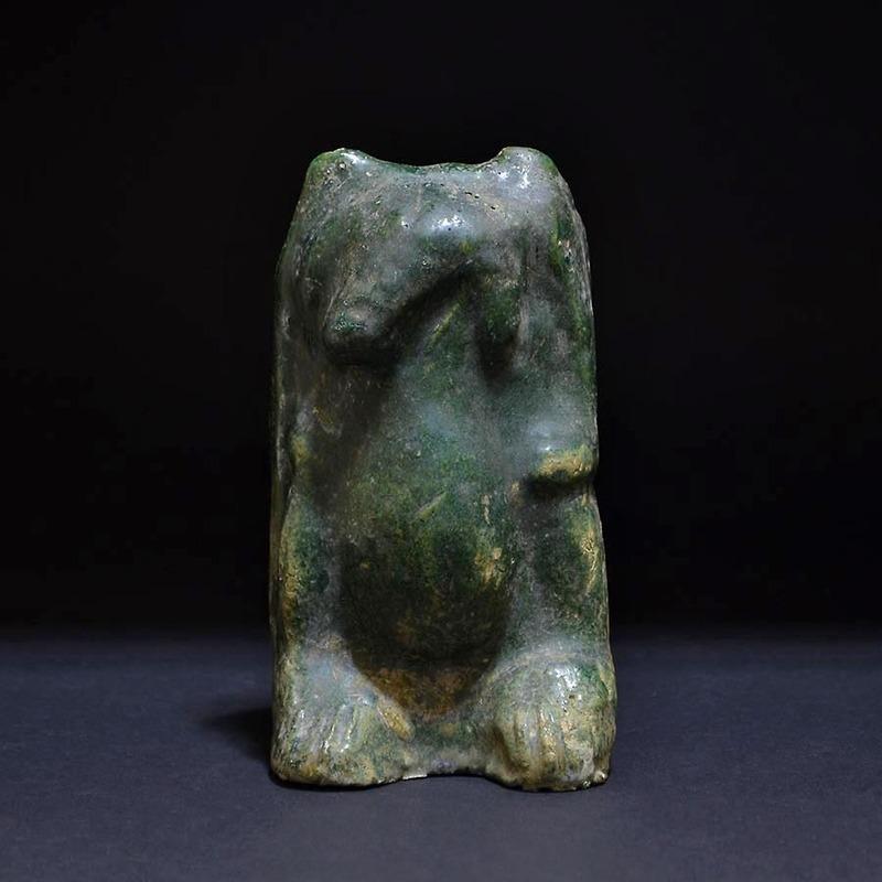 ★いい楽 特集中国美術★緑釉熊 漢時代