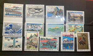 切手 国際文通週間 1958京師 蒲原 桑名 箱根 等 計13枚 未使用