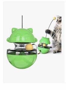 猫犬おもちゃ 猫ボール おやつボール 自動回転 タンブラー ク漏れ食品ボール 餌入れ食器 一人遊び ストレス解消 知育玩具 緑