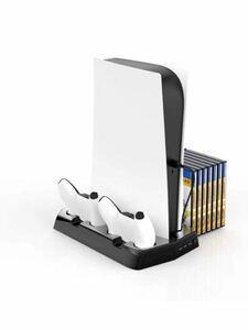 PS5 充電スタンド PS5多機能スタンド 冷却 収納 放熱 保護 2台同時充電 急速充電 3つUSBポート LED 指示ランプ付き 搭載冷却ファン 555