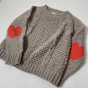 MILKFED. ハートが可愛いニット セーター ケーブル編み ベージュ オレンジ