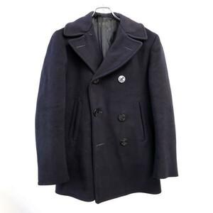 60年代 米軍実物 US.MILITARY US.NAVY Pコート ウールジャケット ビンテージ 紺 (36) 中古 古着 1円スタート 最落なし I5603