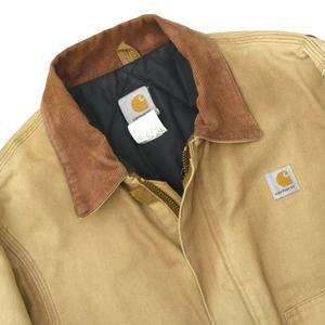 雰囲気◎ 90s ビンテージ USA製 Carhartt カーハート トラディショナルジャケット ダック ブラウン 裏キルティング size.40R