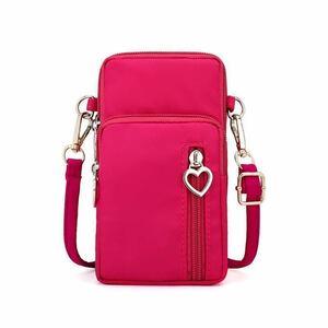 スマホポーチ レディース ショルダーポーチ おしゃれ iphone12 携帯電話 バッグ カードケース 肩掛け 小物入れ 大容量 ハート 5way ピンク