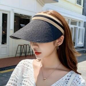 ☆ ブラック サンバイザー 日除け 麦わら 帽子 キャップ UVカット 韓国 海外 夏 紫外線 レディース