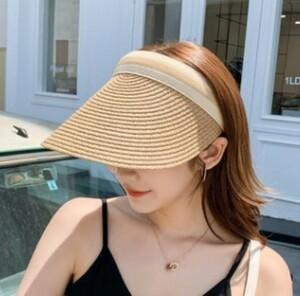 ☆ サンバイザー 日除け 麦 帽子 キャップ UVカット 韓国 海外 夏 紫外線 レディース ライトベージュ