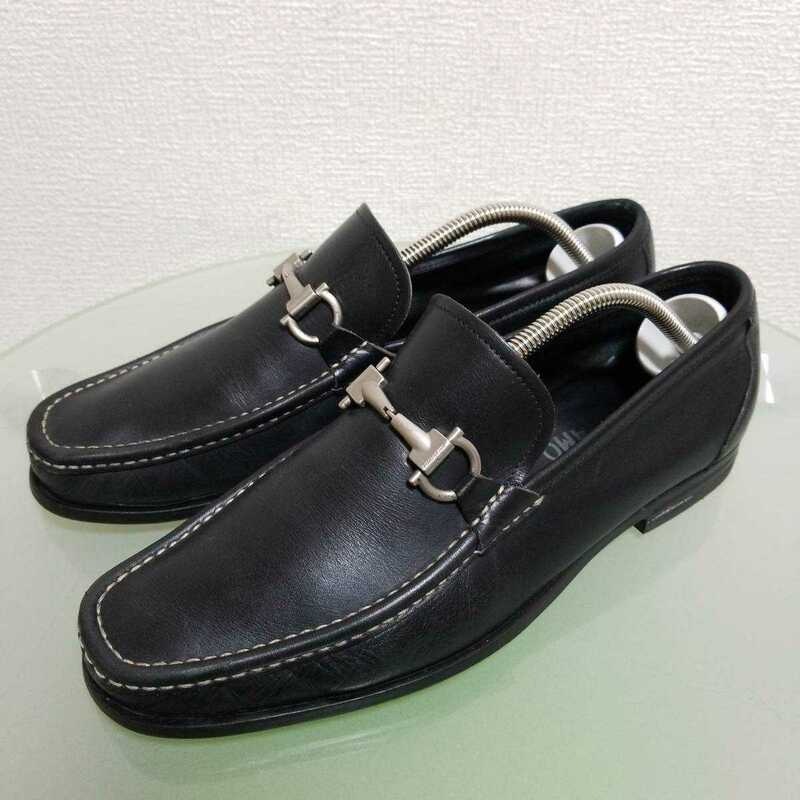 Salvatore Ferragamo サルヴァトーレ フェラガモ スリッポン ビジネスシューズ 8 EEE 約 27cm ブラック レザー 本革 高級靴 イタリア製