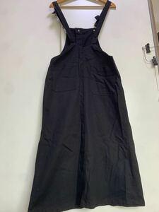 オーバーオール ブラック  ジャンパースカート 無地サロペットスカート