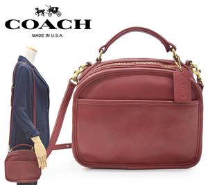 ◆希少!90s アメリカ製 オールドコーチ【COACH】Lunch Box Zip グラブタンレザー 牛革 2WAY ショルダーバッグ/9991 赤◆