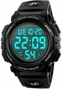4-ブラック 腕時計 メンズ デジタル スポーツ 50メートル防水 おしゃれ 多機能 LED表示 アウトドア 腕時計(ブラック)