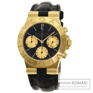 BVLGARI ブルガリ CH35G ディアゴノ スポーツ クロノグラフ 腕時計 K18イエローゴールド 革 メンズ 中古
