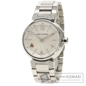 LOUIS VUITTON ルイヴィトン Q131R タンブールMM ダイヤモンド 腕時計 ステンレススチール SS レディース 中古