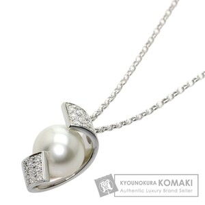 MIKIMOTO ミキモト パール 真珠 ダイヤモンド」 ネックレス K18ホワイトゴールド レディース 中古