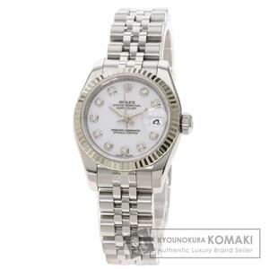 ROLEX ロレックス 179174G デイトジャスト 10P ダイヤモンド 腕時計 ステンレススチール SS K18WG レディース 中古