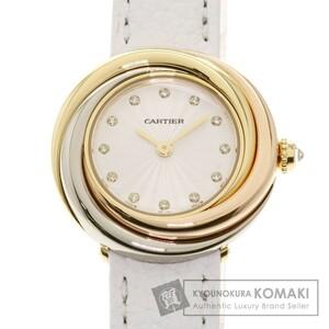 CARTIER カルティエ トリニティ 12P ダイヤモンド 腕時計 K18イエローゴールド 革 レディース 中古