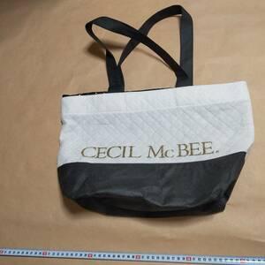 中古 エコバッグ トートバッグ 鞄 バッグ エコバ かばん バッグ カバン セシルマクビーCECIL McBEE 黒色 白色 バイカラー