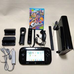 値下げしました!WiiU 32GB 本体 黒 センサーバー Wiiリモコンプラス ヌンチャク スプラトゥーン