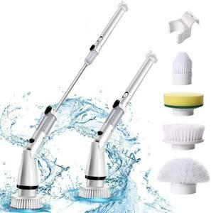 電動お掃除ブラシ 風呂掃除 浴室掃除電動ブラシ バスポリッシャー充電式 四種類の多機能ブラシ付 ハンドル伸縮可能
