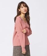 組曲 KUMIKYOKU ★ビオラ 花刺繍 Vネック あぜ編み 長袖ニット 2 ピンク M 9号 ゆったり