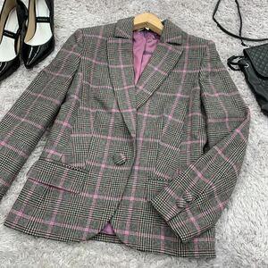 LAURA ASHLEY ローラアシュレイ ジャケット ウールテーラードジャケット サイズ36 グレンチェック グレー×パープル 長袖 上着 9733