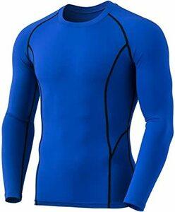 ラウンドネック(YUD54)-ブルー XL (テスラ)TESLA 保温 コンプレッションシャツ スポーツウェア 長袖 [吸湿発熱