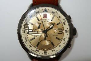 ★☆スイスミリタリー SWISS MILITARY クォーツ腕時計 メンズ クロノグラフ クリーム 6-4224☆★