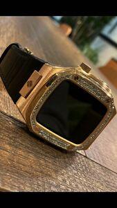 正規品GOLDEN CONCEPTゴールデンコンセプト44ミリサイズ腕時計ゴールド天然ホワイトフルダイヤモンド鑑別書付き!付属品完備!新品同様品