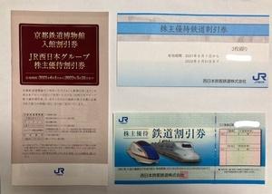 JR西日本株主優待割引 鉄道割引券4枚+JR西日本グループ株主優待割引券1冊 送料無料
