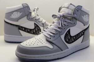 限定8500足 ディオール×ナイキ エアジョーダン1 ハイ エアディオール Dior x Nike Air Jordan1 High OG 28.5cm 一回使用 G5970