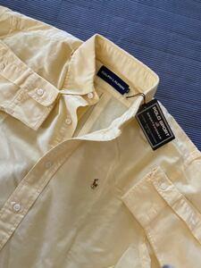 新品 定価13,200円 Ralph Lauren ポロラルフローレン POLO SPORT WOMAN カラーポニー刺繍 高品質オックスフォードBDシャツ size9 160cm 黄