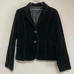 レディース テーラードジャケット ブラック M ダメージ加工 ジャケット